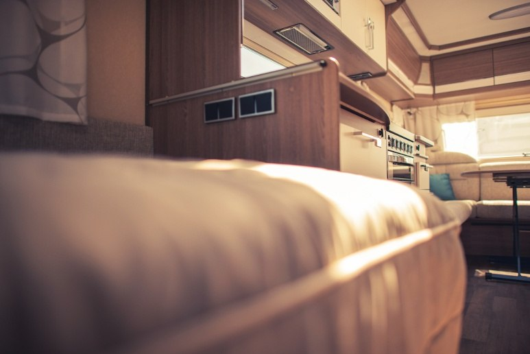 Motorhome interior with RV mattress