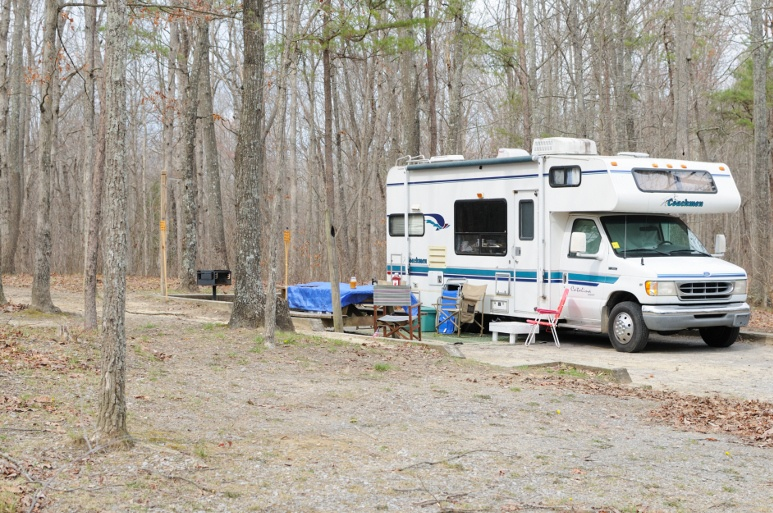 Coachmen RV parked in forest