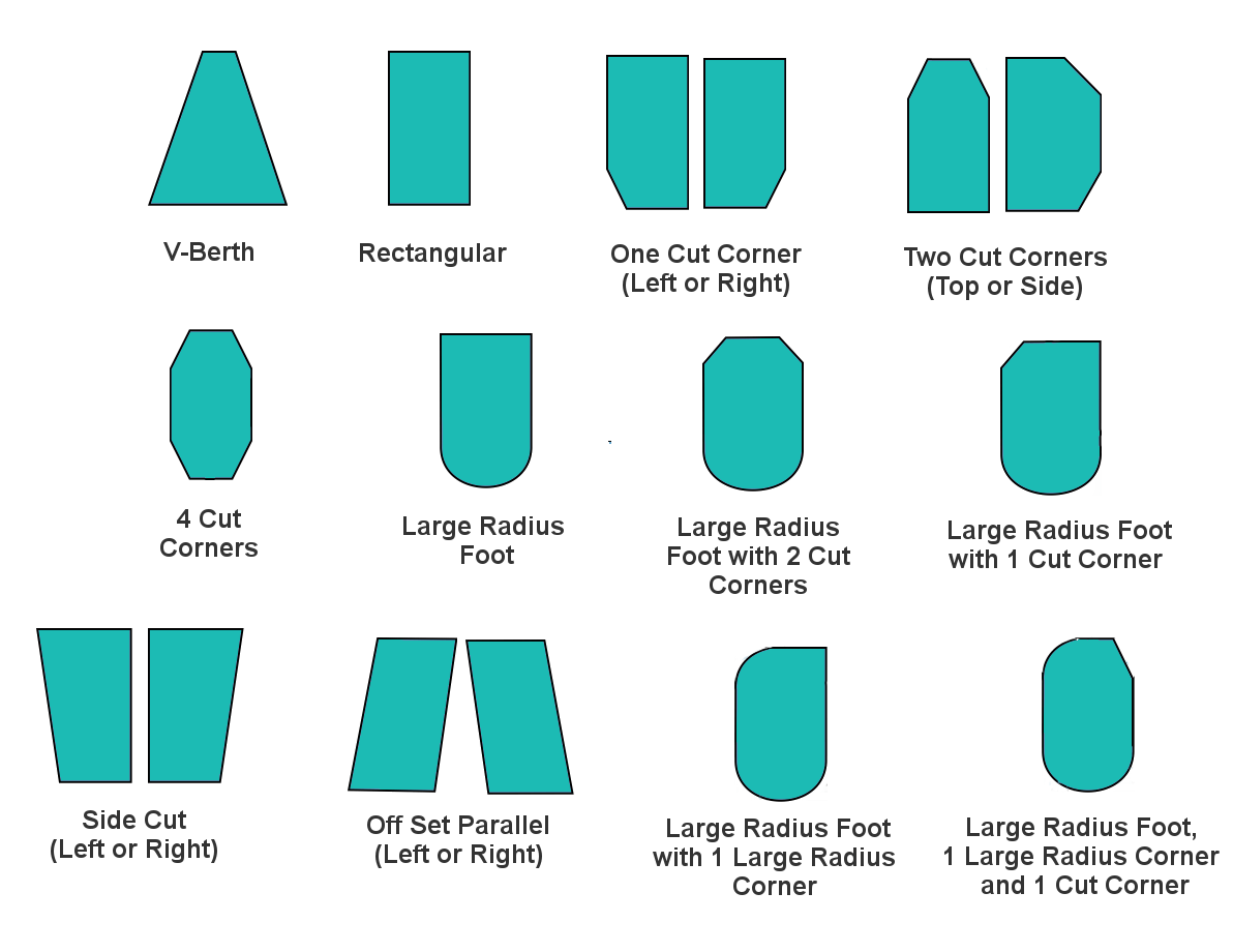 V berth, 4 cut corners, , large radius foot (simple or with one or two cut corners), side cut, off set parallel, large radius foor with one large radius corner or with one large radius corner and one cut corner marine mattresses