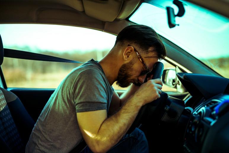 Sleepy driver at the wheel